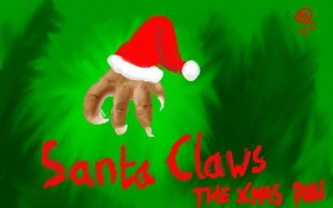Claws in a santa hat